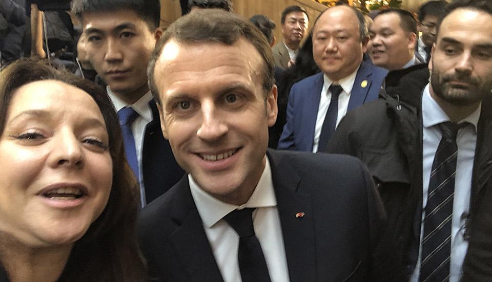 Fadwa Sube et Emmanuel Macron